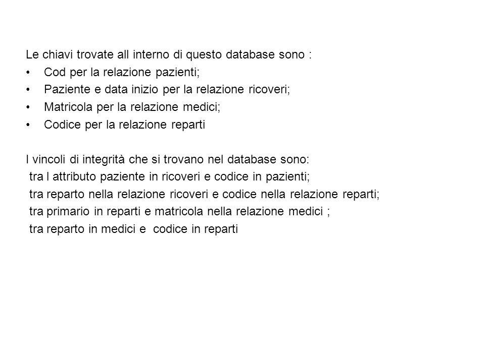 Le chiavi trovate all interno di questo database sono : Cod per la relazione pazienti; Paziente e data inizio per la relazione ricoveri; Matricola per