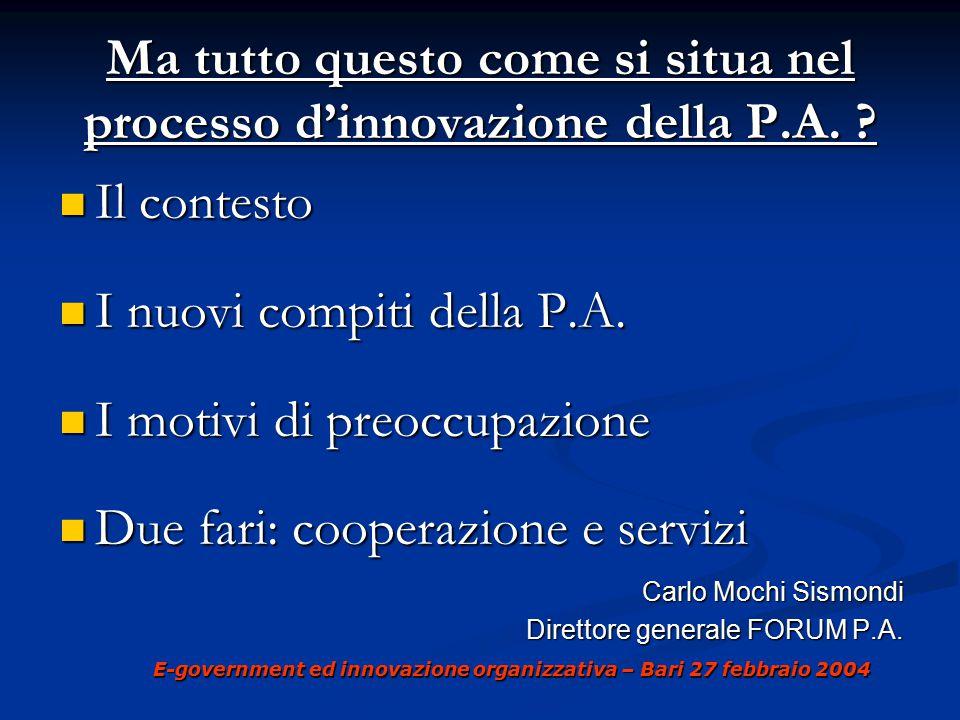 E-government ed innovazione organizzativa – Bari 27 febbraio 2004 Ma tutto questo come si situa nel processo d'innovazione della P.A.