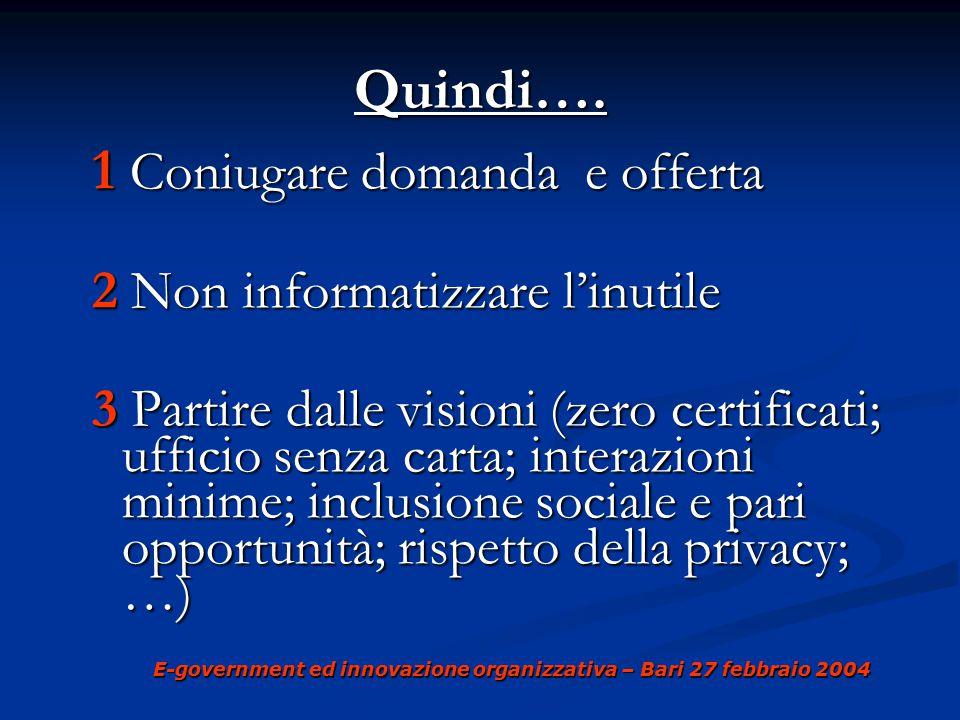 E-government ed innovazione organizzativa – Bari 27 febbraio 2004 Quindi….