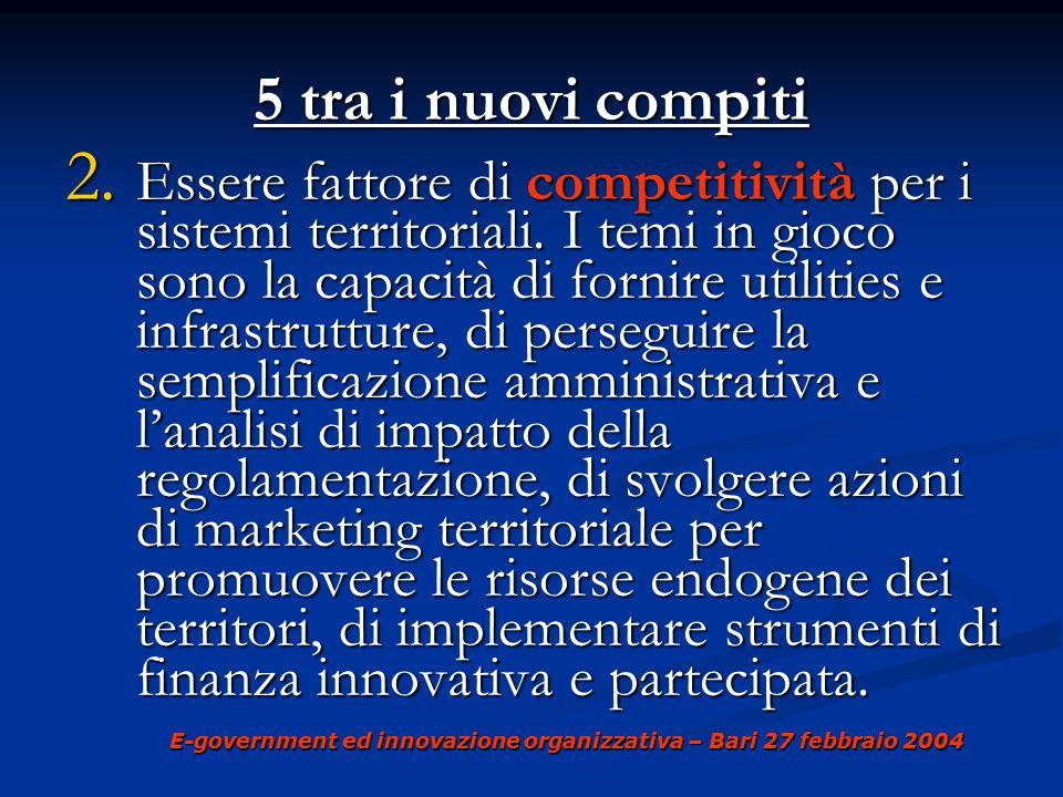 E-government ed innovazione organizzativa – Bari 27 febbraio 2004 5 nuovi compiti 5 nuovi compiti 3.