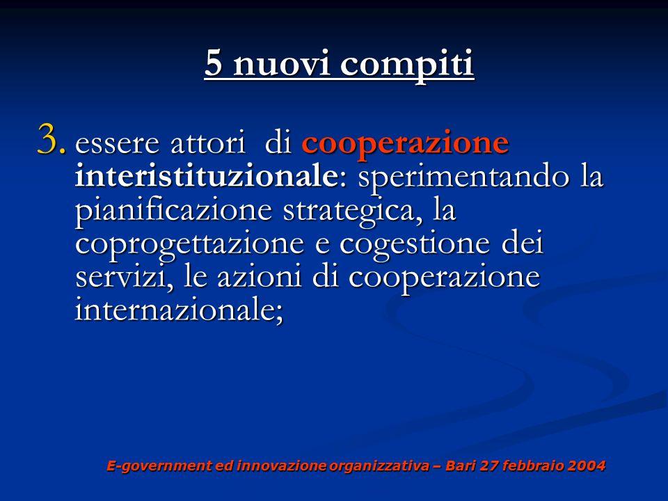 E-government ed innovazione organizzativa – Bari 27 febbraio 2004 5 nuovi compiti 5 nuovi compiti 4.