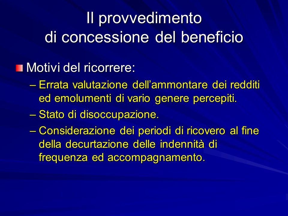 Il provvedimento di concessione del beneficio Motivi del ricorrere: –Errata valutazione dell'ammontare dei redditi ed emolumenti di vario genere percepiti.