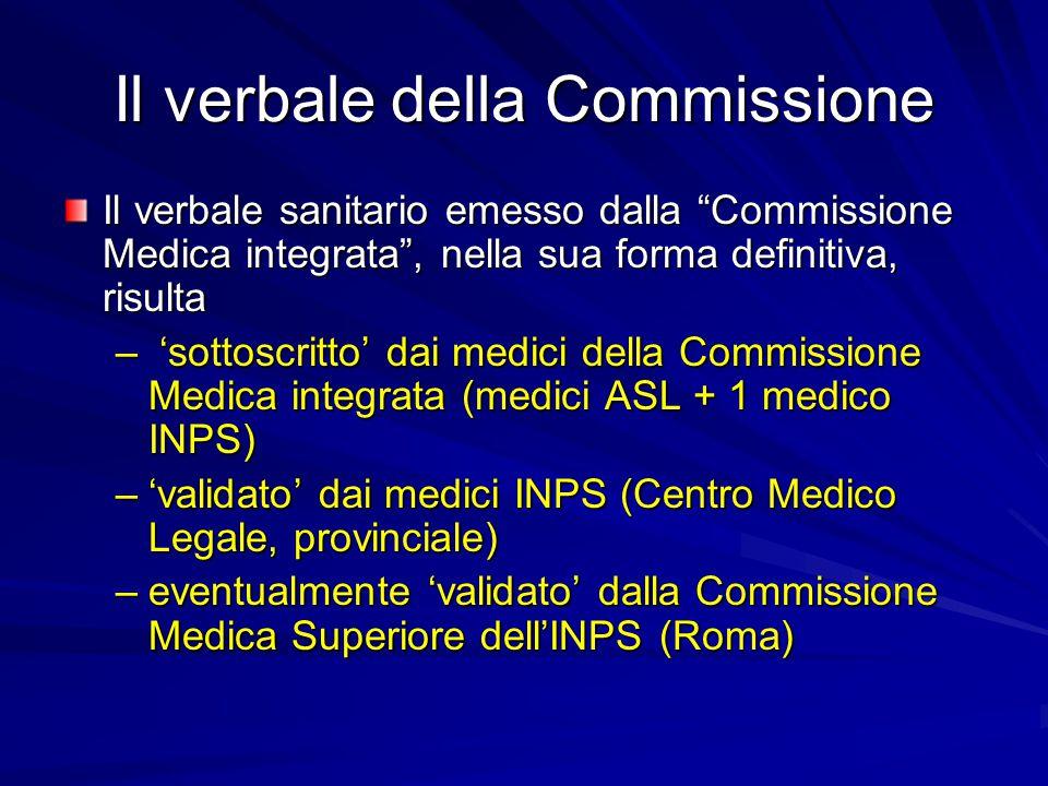 Il verbale della Commissione Il verbale sanitario emesso dalla Commissione Medica integrata , nella sua forma definitiva, risulta – 'sottoscritto' dai medici della Commissione Medica integrata (medici ASL + 1 medico INPS) –'validato' dai medici INPS (Centro Medico Legale, provinciale) –eventualmente 'validato' dalla Commissione Medica Superiore dell'INPS (Roma)