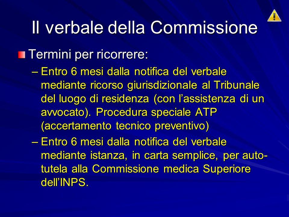 Il verbale della Commissione Termini per ricorrere: –Entro 6 mesi dalla notifica del verbale mediante ricorso giurisdizionale al Tribunale del luogo di residenza (con l'assistenza di un avvocato).
