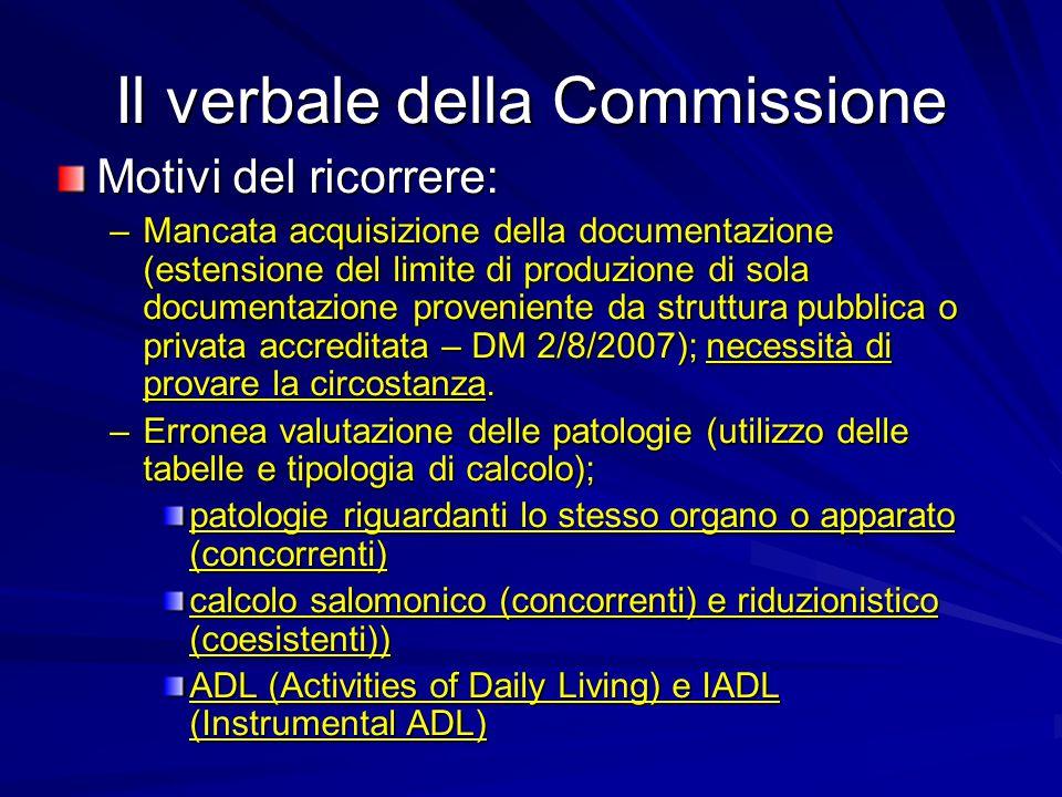 Il verbale della Commissione Motivi del ricorrere: –Mancata acquisizione della documentazione (estensione del limite di produzione di sola documentazione proveniente da struttura pubblica o privata accreditata – DM 2/8/2007); necessità di provare la circostanza.