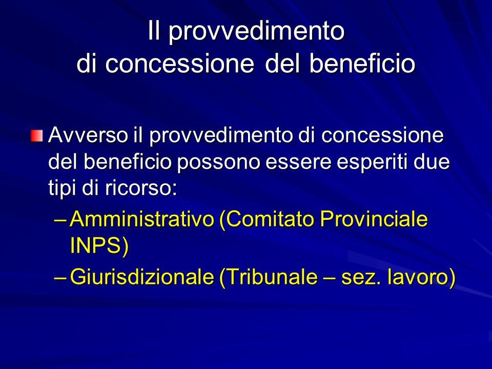 Il provvedimento di concessione del beneficio Avverso il provvedimento di concessione del beneficio possono essere esperiti due tipi di ricorso: –Amministrativo (Comitato Provinciale INPS) –Giurisdizionale (Tribunale – sez.