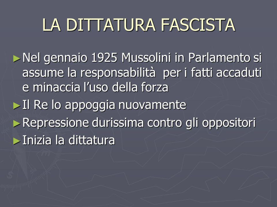 LA DITTATURA FASCISTA ► Nel gennaio 1925 Mussolini in Parlamento si assume la responsabilità per i fatti accaduti e minaccia l'uso della forza ► Il Re lo appoggia nuovamente ► Repressione durissima contro gli oppositori ► Inizia la dittatura
