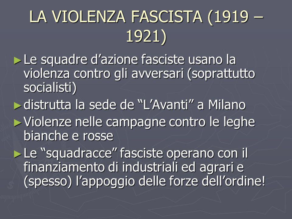 LA VIOLENZA FASCISTA (1919 – 1921) ► Le squadre d'azione fasciste usano la violenza contro gli avversari (soprattutto socialisti) ► distrutta la sede