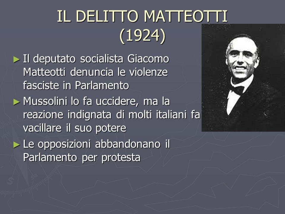 IL DELITTO MATTEOTTI (1924) ► Il deputato socialista Giacomo Matteotti denuncia le violenze fasciste in Parlamento ► Mussolini lo fa uccidere, ma la reazione indignata di molti italiani fa vacillare il suo potere ► Le opposizioni abbandonano il Parlamento per protesta