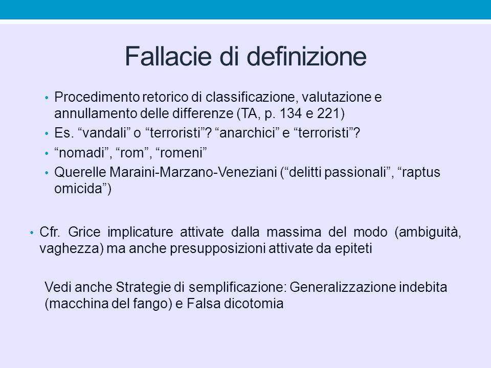 """Fallacie di definizione Procedimento retorico di classificazione, valutazione e annullamento delle differenze (TA, p. 134 e 221) Es. """"vandali"""" o """"terr"""