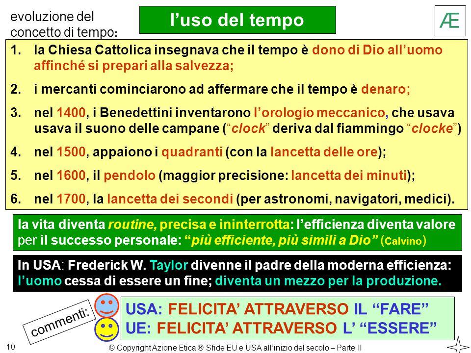 Æ l'uso del tempo 10 1.la Chiesa Cattolica insegnava che il tempo è dono di Dio all'uomo affinché si prepari alla salvezza; 2.i mercanti cominciarono ad affermare che il tempo è denaro; 3.nel 1400, i Benedettini inventarono l'orologio meccanico, che usava usava il suono delle campane ( clock deriva dal fiammingo clocke ) 4.nel 1500, appaiono i quadranti (con la lancetta delle ore); 5.nel 1600, il pendolo (maggior precisione: lancetta dei minuti); 6.nel 1700, la lancetta dei secondi (per astronomi, navigatori, medici).