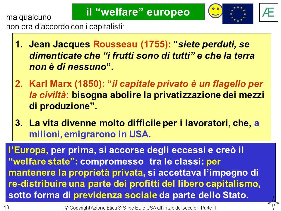 il welfare europeo 13 l'Europa, per prima, si accorse degli eccessi e creò il welfare state : compromesso tra le classi: per mantenere la proprietà privata, si accettava l'impegno di re-distribuire una parte dei profitti del libero capitalismo, sotto forma di previdenza sociale da parte dello Stato.