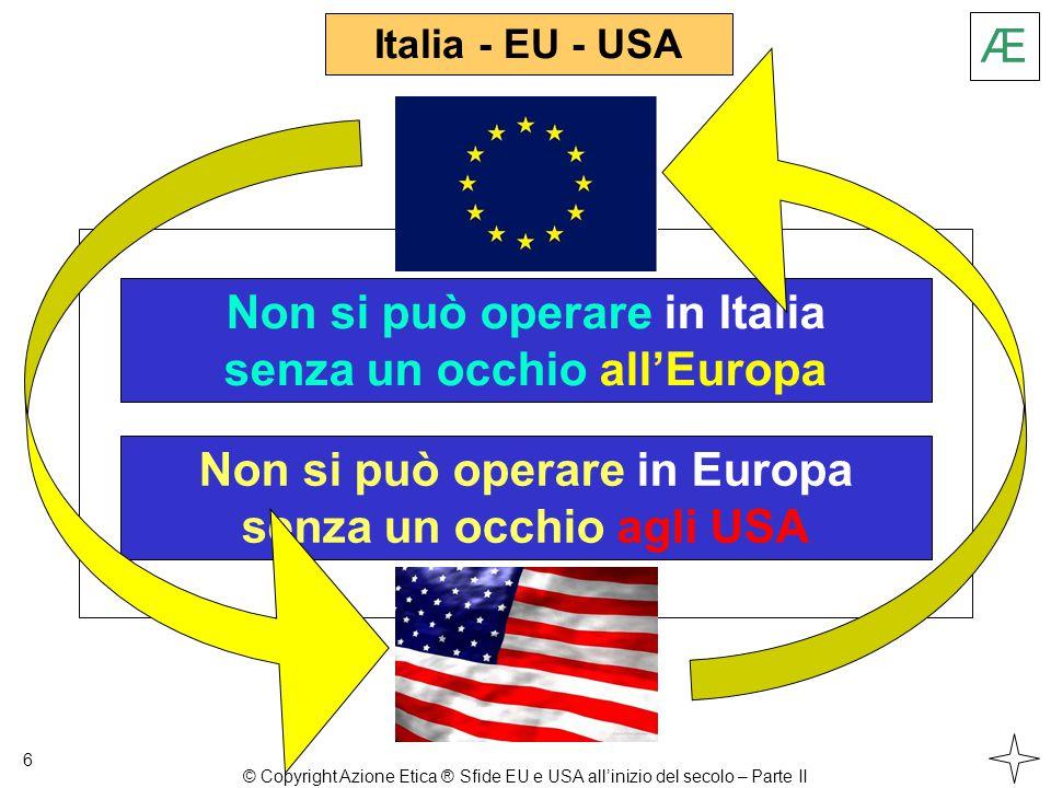 Italia - EU - USA 6 Non si può operare in Italia senza un occhio all'Europa Non si può operare in Europa senza un occhio agli USA Æ © Copyright Azione Etica ® Sfide EU e USA all'inizio del secolo – Parte II