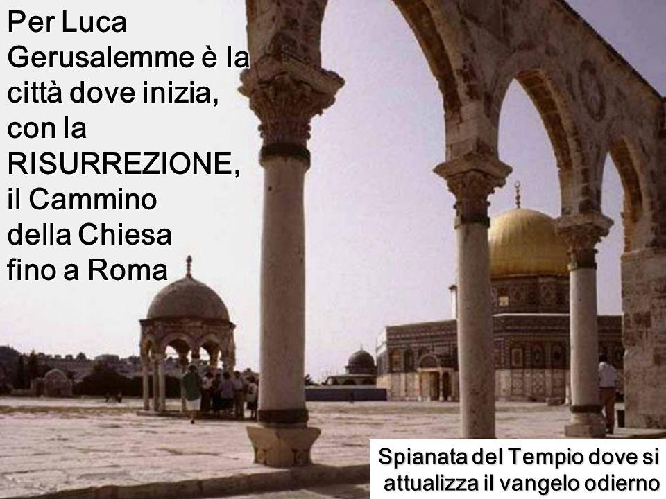 Spianata del Tempio dove si attualizza il vangelo odierno Per Luca Gerusalemme è la città dove inizia, con la RISURREZIONE, il Cammino della Chiesa fino a Roma