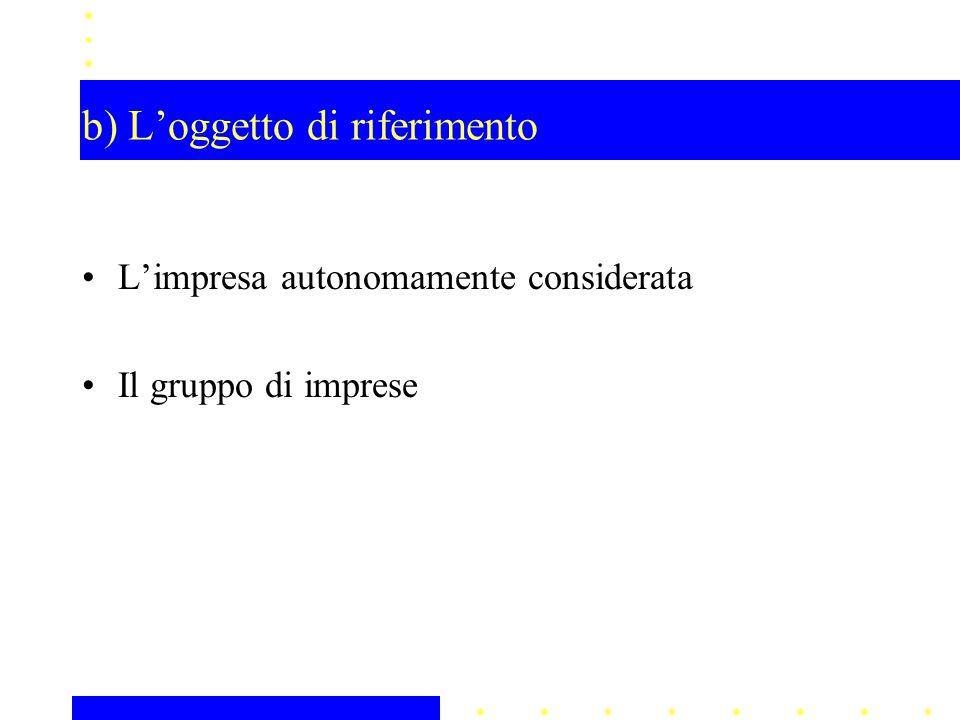 b) L'oggetto di riferimento L'impresa autonomamente considerata Il gruppo di imprese