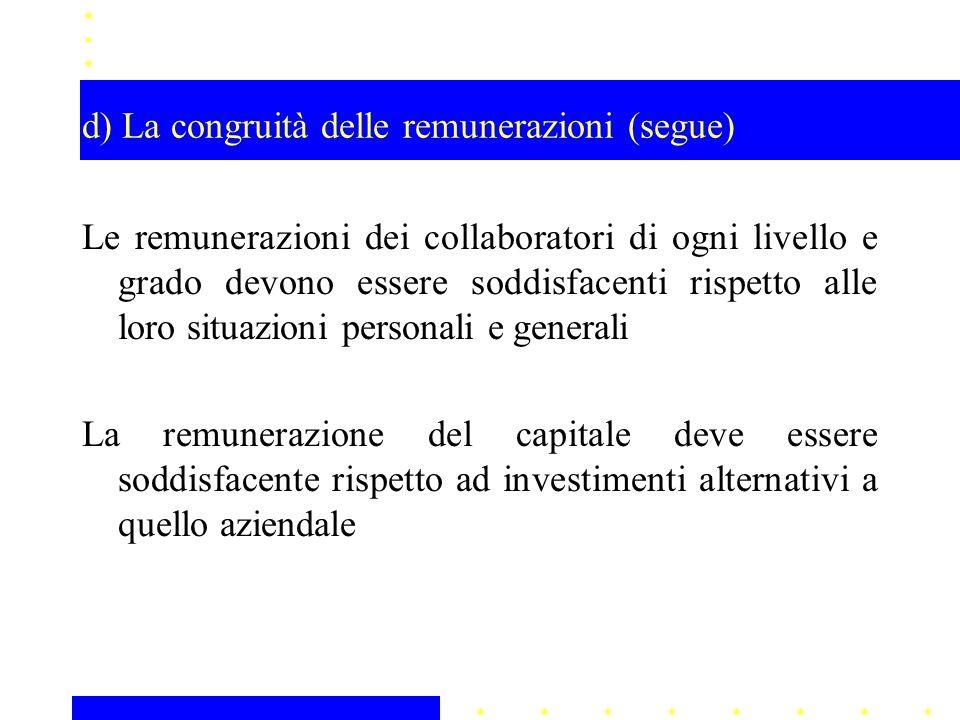 d) La congruità delle remunerazioni (segue) Le remunerazioni dei collaboratori di ogni livello e grado devono essere soddisfacenti rispetto alle loro situazioni personali e generali La remunerazione del capitale deve essere soddisfacente rispetto ad investimenti alternativi a quello aziendale