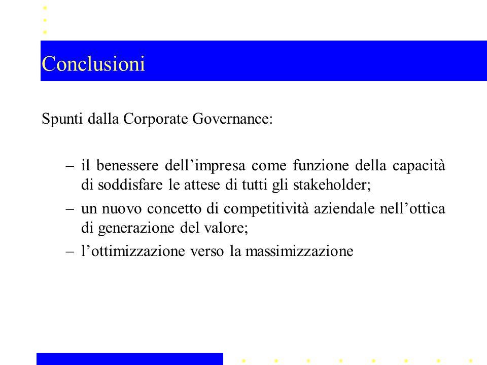 Conclusioni Spunti dalla Corporate Governance: –il benessere dell'impresa come funzione della capacità di soddisfare le attese di tutti gli stakeholder; –un nuovo concetto di competitività aziendale nell'ottica di generazione del valore; –l'ottimizzazione verso la massimizzazione