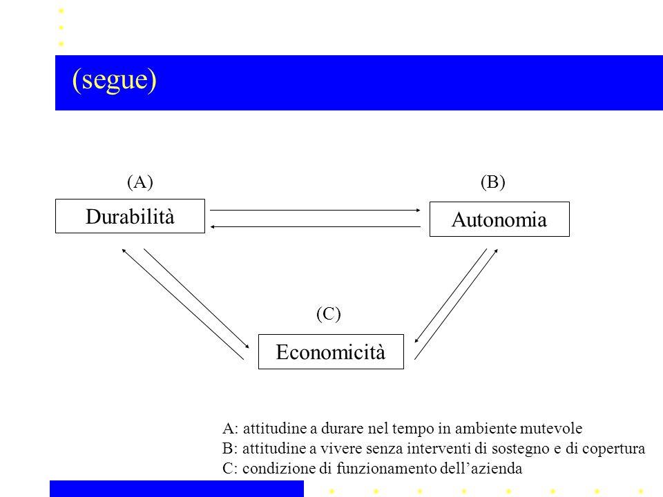 Durabilità Autonomia Economicità (A)(B) (C) A: attitudine a durare nel tempo in ambiente mutevole B: attitudine a vivere senza interventi di sostegno e di copertura C: condizione di funzionamento dell'azienda (segue)