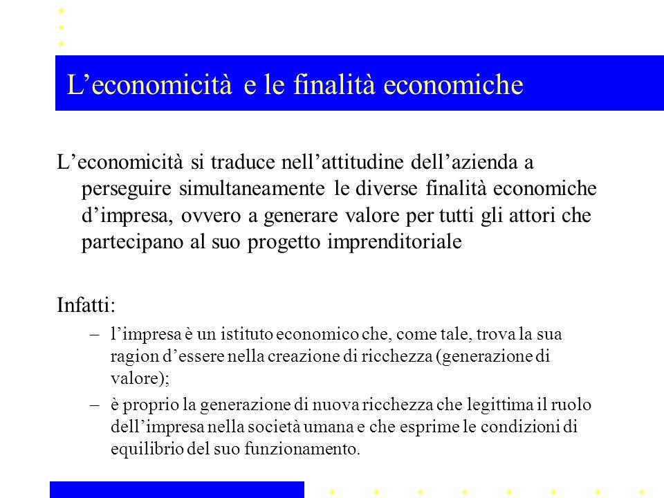L'economicità si traduce nell'attitudine dell'azienda a perseguire simultaneamente le diverse finalità economiche d'impresa, ovvero a generare valore