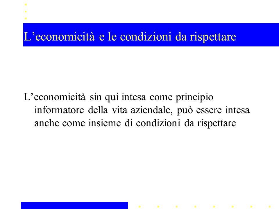 L'economicità e le condizioni da rispettare L'economicità sin qui intesa come principio informatore della vita aziendale, può essere intesa anche come insieme di condizioni da rispettare