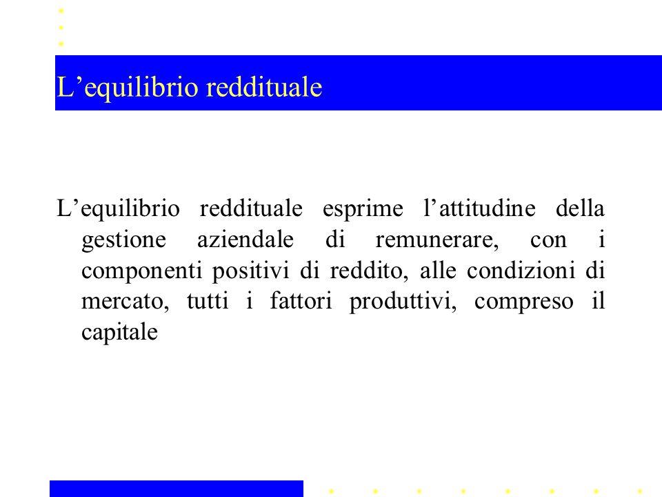 L'equilibrio reddituale L'equilibrio reddituale esprime l'attitudine della gestione aziendale di remunerare, con i componenti positivi di reddito, alle condizioni di mercato, tutti i fattori produttivi, compreso il capitale