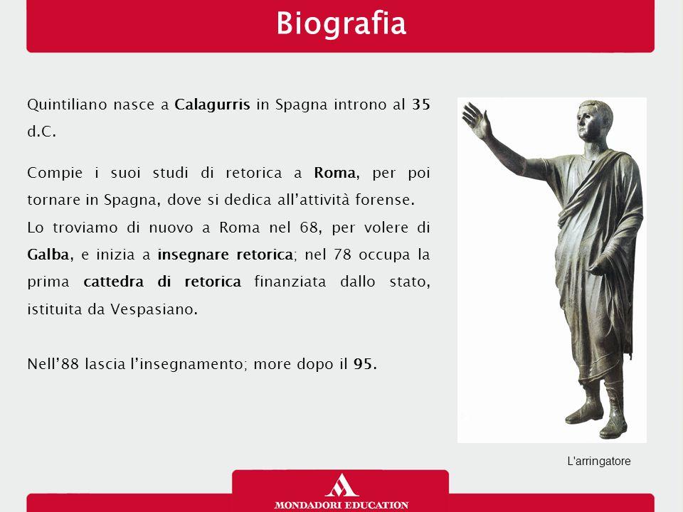 Quintiliano nasce a Calagurris in Spagna introno al 35 d.C. Compie i suoi studi di retorica a Roma, per poi tornare in Spagna, dove si dedica all'atti