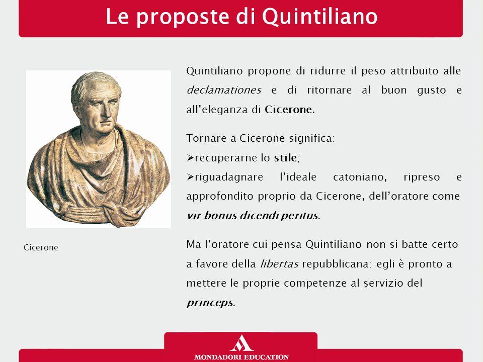 Le proposte di Quintiliano Quintiliano propone di ridurre il peso attribuito alle declamationes e di ritornare al buon gusto e all'eleganza di Ciceron