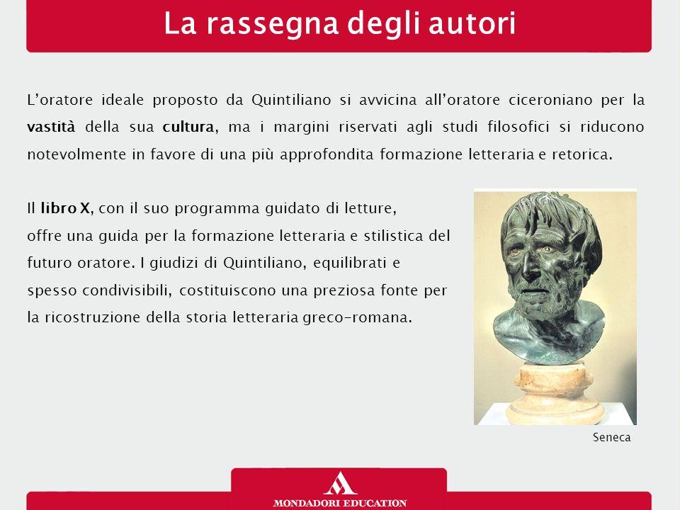 La rassegna degli autori L'oratore ideale proposto da Quintiliano si avvicina all'oratore ciceroniano per la vastità della sua cultura, ma i margini r