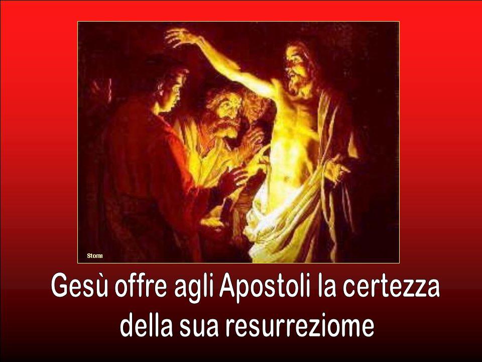 La sera di quello stesso giorno venne Gesù, si fermò in mezzo a loro e disse: «Pace a voi!». Detto questo mostrò loro le mani e il fianco. (Gv 20, 19-