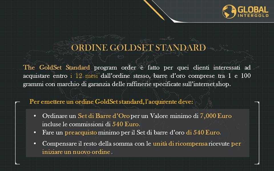 Ordinare un Set di Barre d'Oro per un Valore minimo di 7,000 Euro incluse le commissioni di 540 Euro.