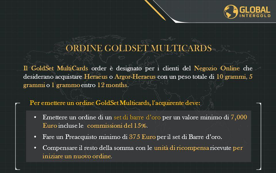 Emettere un ordine di un set di barre d'oro per un valore minimo di 7,000 Euro incluse le commissioni del 15%.