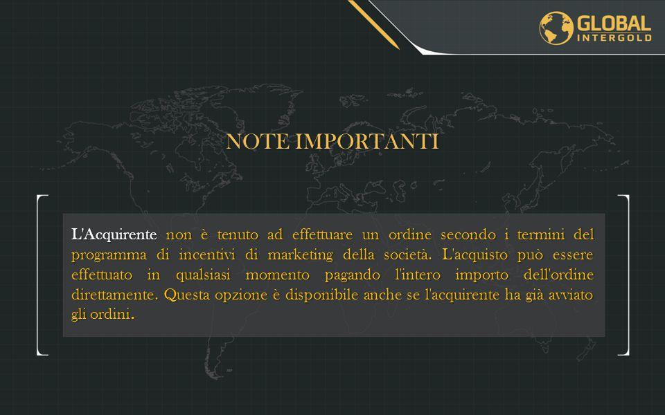L Acquirente non è tenuto ad effettuare un ordine secondo i termini del programma di incentivi di marketing della società.