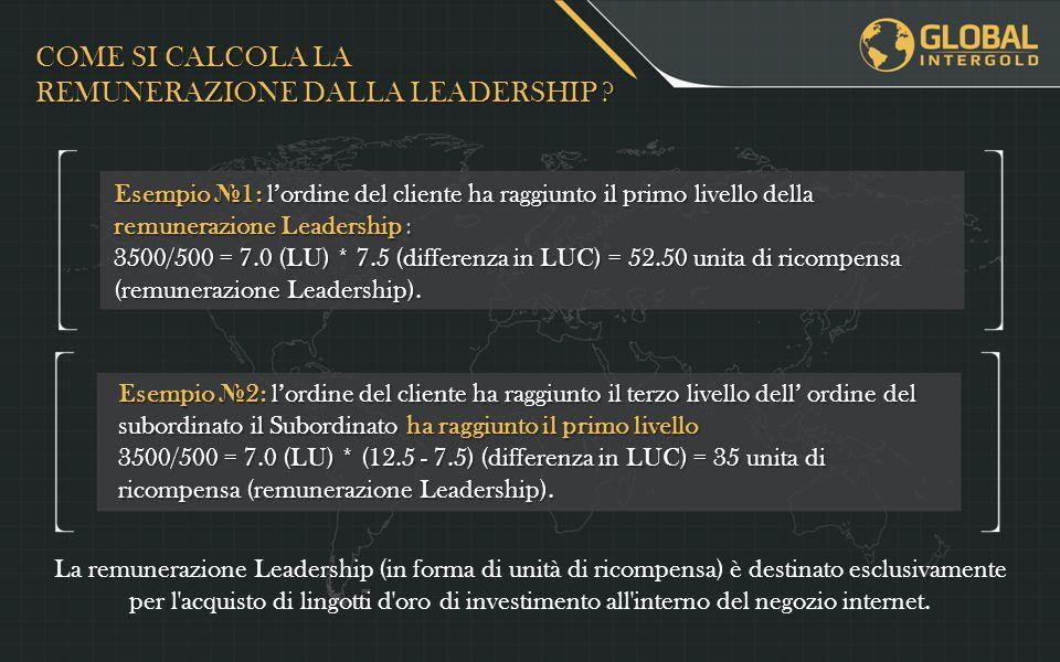 Esempio № 1: l'ordine del cliente ha raggiunto il primo livello della remunerazione Leadership : 3500/500 = 7.0 (LU) * 7.5 (differenza in LUC) = 52.50 unita di ricompensa (remunerazione Leadership).