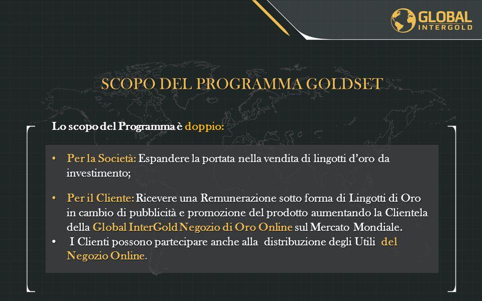 COME E' CALCOLATA LA RICOMPENSA DEL GOLDSET STANDARD Le Ricompense sono destinate esclusivamente per l'acquisto di barre di oro da investimento.