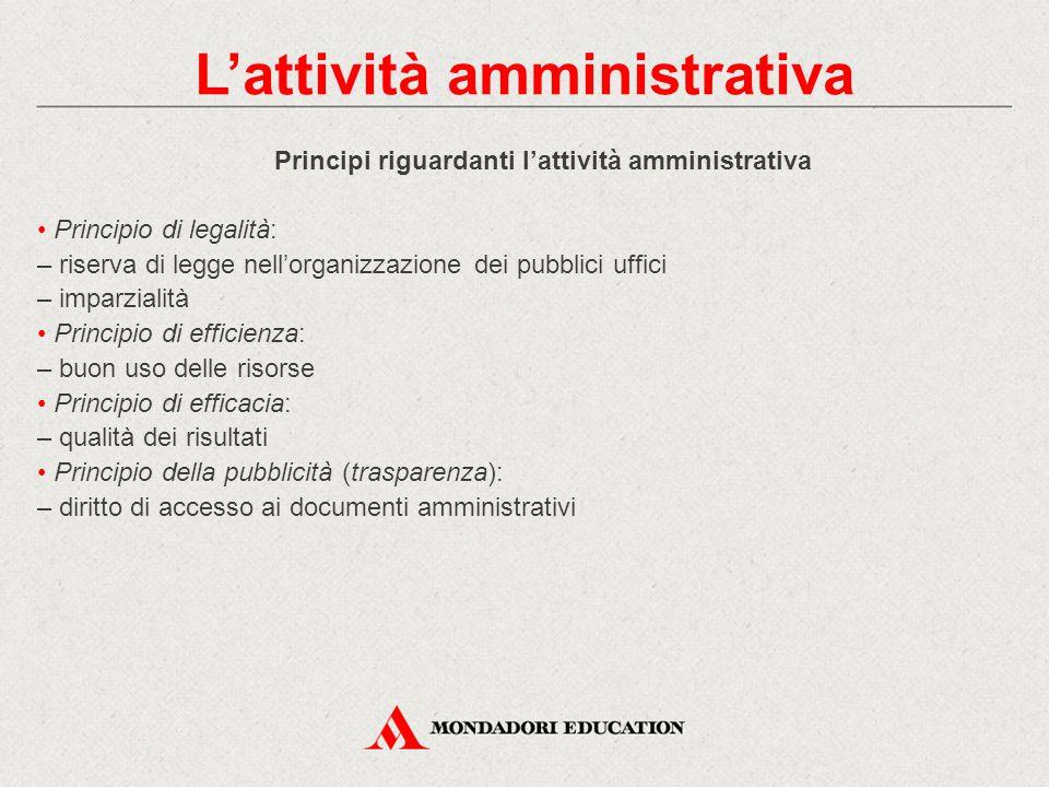 Principi riguardanti l'attività amministrativa Principio di legalità: – riserva di legge nell'organizzazione dei pubblici uffici – imparzialità Princi
