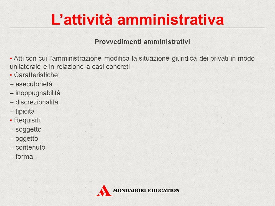 Provvedimenti amministrativi Atti con cui l'amministrazione modifica la situazione giuridica dei privati in modo unilaterale e in relazione a casi con
