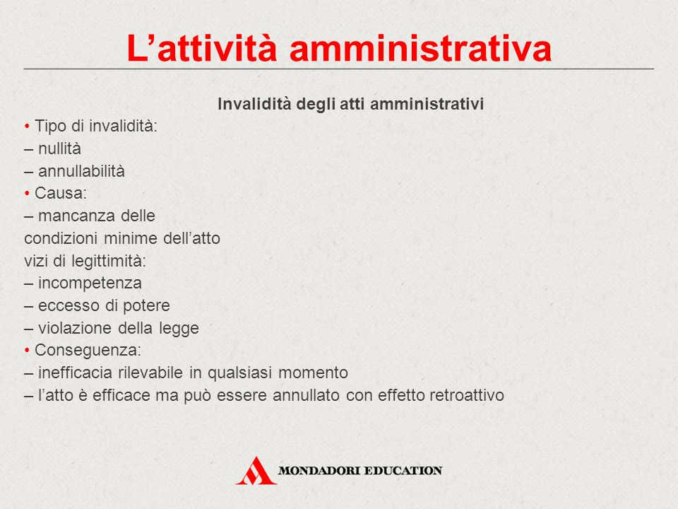 Invalidità degli atti amministrativi Tipo di invalidità: – nullità – annullabilità Causa: – mancanza delle condizioni minime dell'atto vizi di legitti