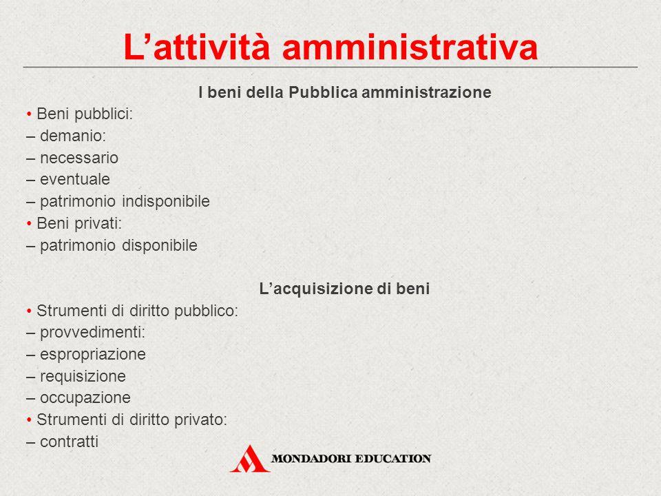 I beni della Pubblica amministrazione Beni pubblici: – demanio: – necessario – eventuale – patrimonio indisponibile Beni privati: – patrimonio disponi