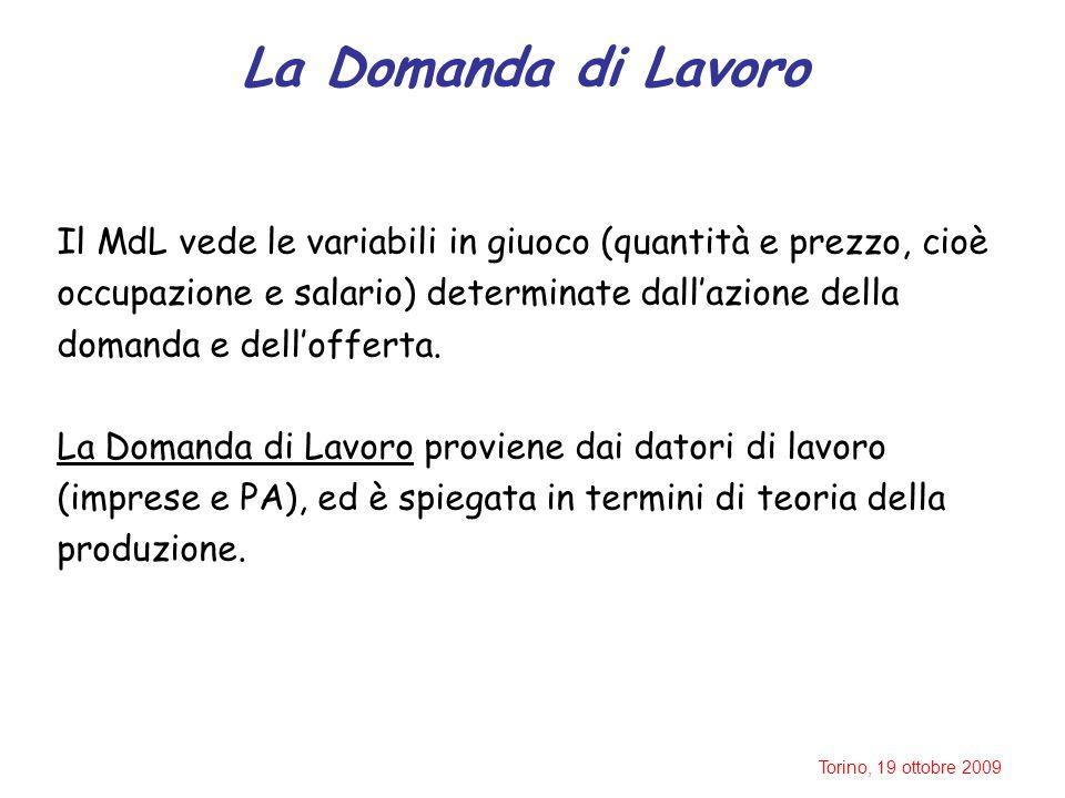 Torino, 19 ottobre 2009 La Domanda di Lavoro Il MdL vede le variabili in giuoco (quantità e prezzo, cioè occupazione e salario) determinate dall'azione della domanda e dell'offerta.