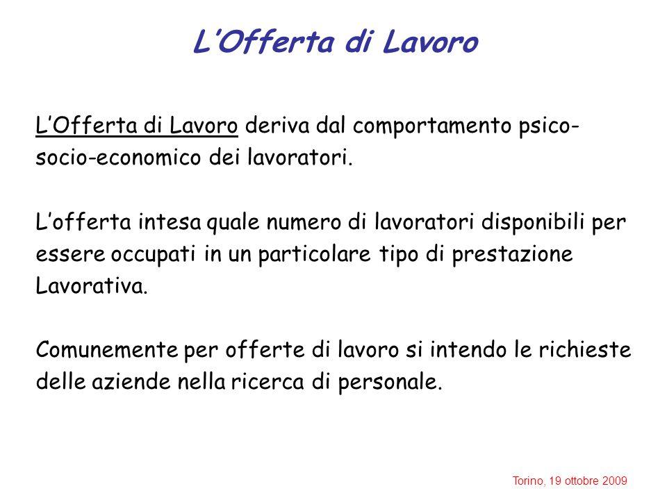 Torino, 19 ottobre 2009 L'Offerta di Lavoro L'Offerta di Lavoro deriva dal comportamento psico- socio-economico dei lavoratori.