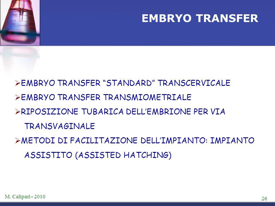 """M. Calipari - 2010 26 EMBRYO TRANSFER  EMBRYO TRANSFER """"STANDARD"""" TRANSCERVICALE  EMBRYO TRANSFER TRANSMIOMETRIALE  RIPOSIZIONE TUBARICA DELL'EMBRI"""