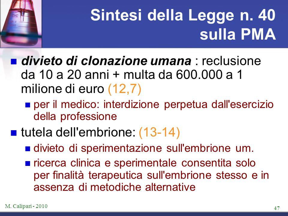 M. Calipari - 2010 47 Sintesi della Legge n. 40 sulla PMA divieto di clonazione umana : reclusione da 10 a 20 anni + multa da 600.000 a 1 milione di e