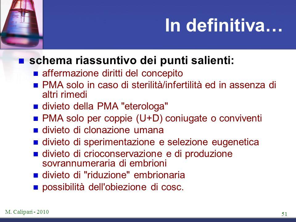 M. Calipari - 2010 51 In definitiva… schema riassuntivo dei punti salienti: affermazione diritti del concepito PMA solo in caso di sterilità/infertili