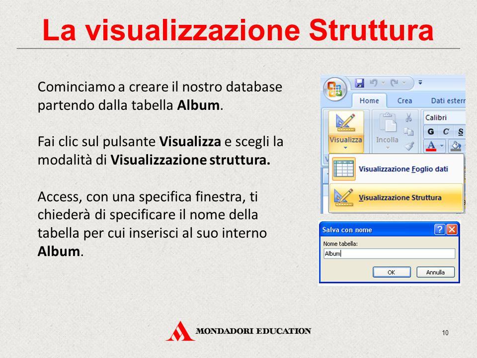 La visualizzazione Struttura Cominciamo a creare il nostro database partendo dalla tabella Album.