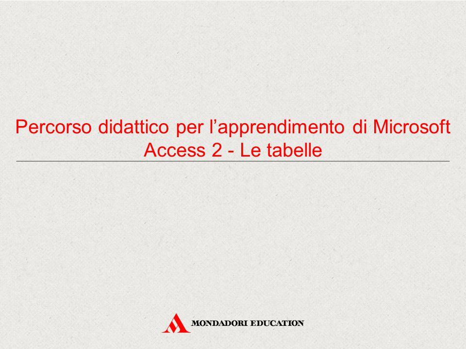 Percorso didattico per l'apprendimento di Microsoft Access 2 - Le tabelle