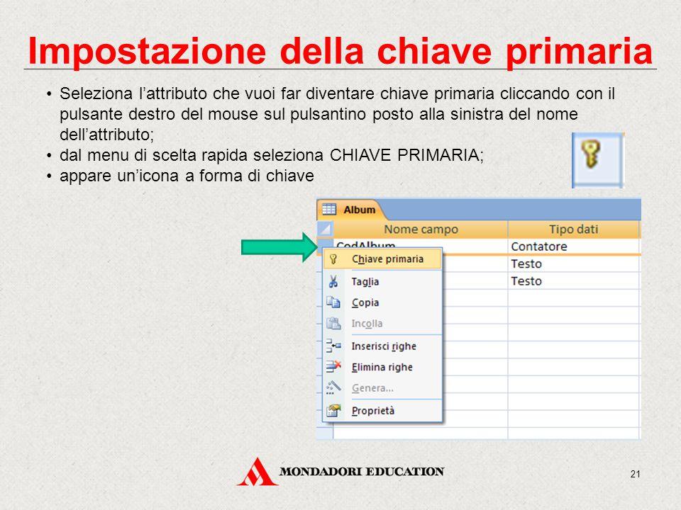 Impostazione della chiave primaria Seleziona l'attributo che vuoi far diventare chiave primaria cliccando con il pulsante destro del mouse sul pulsantino posto alla sinistra del nome dell'attributo; dal menu di scelta rapida seleziona CHIAVE PRIMARIA; appare un'icona a forma di chiave 21