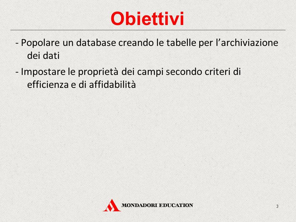 Obiettivi - Popolare un database creando le tabelle per l'archiviazione dei dati - Impostare le proprietà dei campi secondo criteri di efficienza e di affidabilità 3