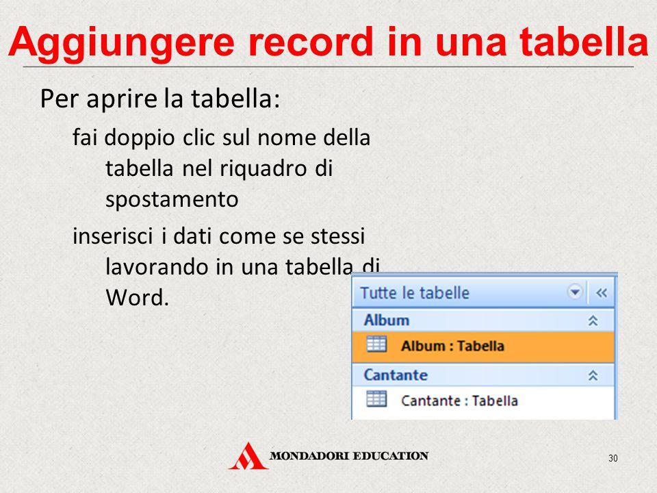 Aggiungere record in una tabella Per aprire la tabella: fai doppio clic sul nome della tabella nel riquadro di spostamento inserisci i dati come se stessi lavorando in una tabella di Word.