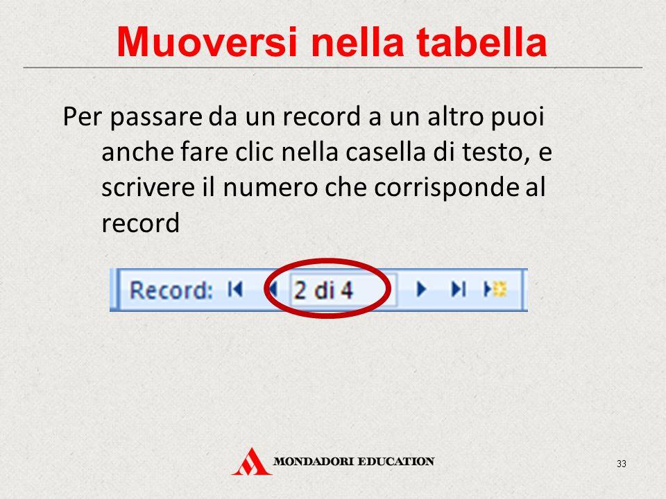 Muoversi nella tabella Per passare da un record a un altro puoi anche fare clic nella casella di testo, e scrivere il numero che corrisponde al record 33