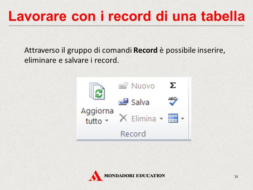 Lavorare con i record di una tabella Attraverso il gruppo di comandi Record è possibile inserire, eliminare e salvare i record.